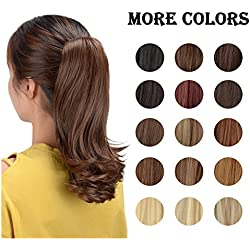 "FESHFEN 15"" Claw Clip in Ponytail Hair Extensions Synthetic Slightly Curled Wavy Hairpiece for Women(Dark Brown)"