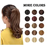 "FESHFEN 15"" Claw Clip in Ponytail Hair Extensions Synthetic Slightly Curled Wavy Hairpiece for Women(Medium Brown)"
