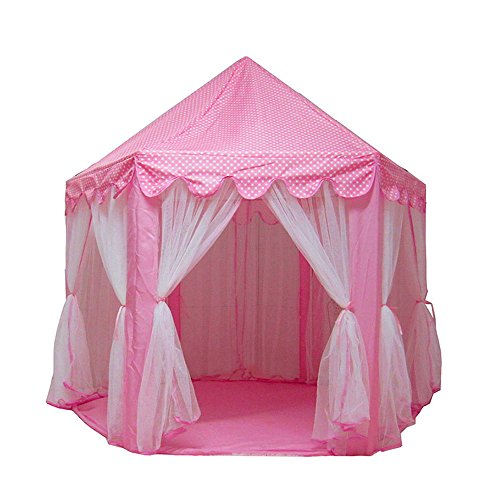 Tenozek Princess Castle Play House Large Outdoor Kids Play Tent for Girls Pink by Tenozek (Image #1)