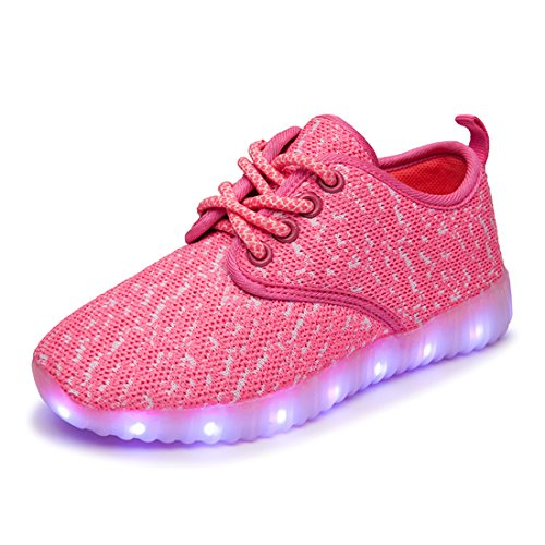 O&N Kids Boys Girls LED Luminous Lace Up Fashion Sneakers USB Charging Running Shoes Birthday Gift