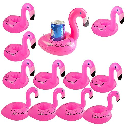 Inflatable Drink Holder Float Coaster , Floating Flamingo Inflates Coasters 12 Pack