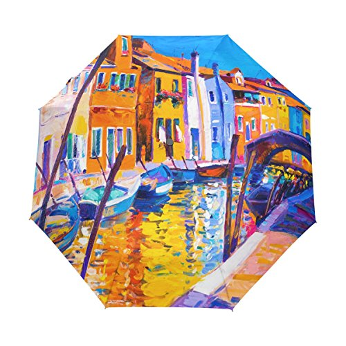 (U LIFE Vintage Oil Painting Venice Sunset Ship Boat Auto Open Close Umbrellas Anti UV Folding Compact Automatic Umbrella)