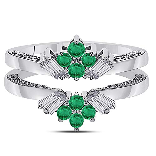 Jewelryhub 14k White Gold Plated Sterling Silver Dazzling Sunburst Prong Set Round & Baguette Enhancer Ring Guard with CZ Green Emerald (0.38 ct. tw.)