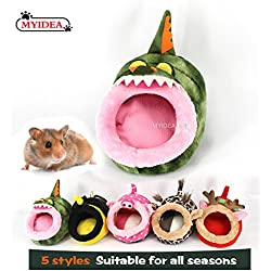MYIDEA Hamster Bed - Hedgehog Hideout, Lizard Nest, Small pet Animals Bed/Cube/House, Habitat, Lightweight, Durable, Portable, Cushion Big Mat For Christmas (Small Pet - S, Crocodile)