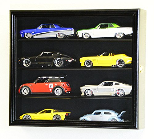 1/24 Scale Diecast Model 8 Cars Display Case Rack Holder Holds 8 Cars 1:24 (Black Finish)