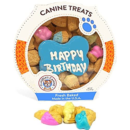 Claudias Canine Cuisine Peanut Butter Dog Cookies 10 Ounce Happy Birthday Blue
