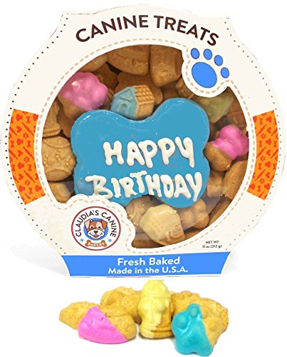 Dog Gift Box (Claudia's Canine Cuisine Peanut Butter Dog Cookies, 10-Ounce, Happy Birthday, Blue)