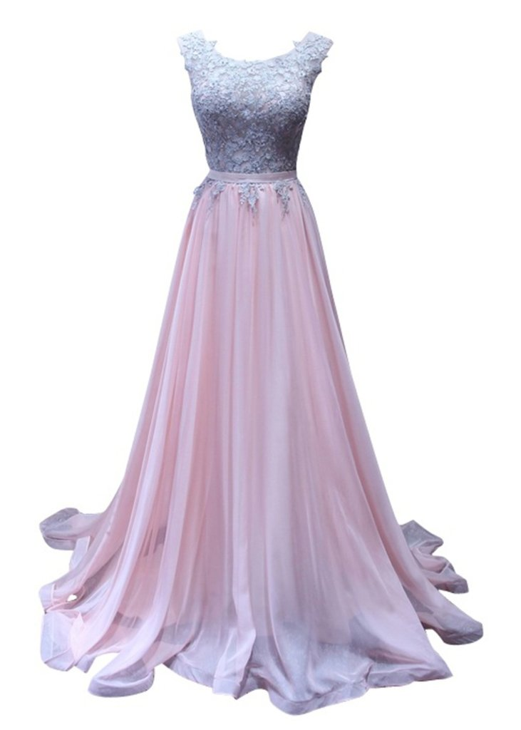Charm Bridal Long Pink Chiffon Lace Summer Women Evening Prom Dress Sleeveless -20W-Pink