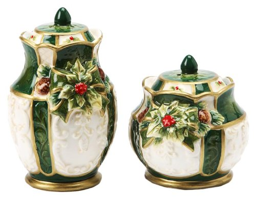 Cosmos Gifts Emerald Holiday Holly Salt and Pepper Set