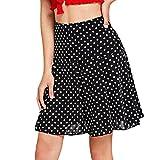 Women High Waist Wave Dress Fashion Girls Sexy Uniform Pleated Dot Mini Casual Skirt (XL, Black)