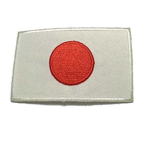 Japan Flag Patch Applique Embroidered Sew Iron On Patch - Clothing Shirts Pants Novelty Iron on with heat or sew on - Decorate Bags Caps Towels - Safe Non-toxic - 100%