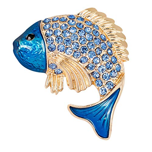 - Charming Yellow Blue Fish Rhinestone Crystal Brooch Pin Animal Brooch Pin | Color - Blue