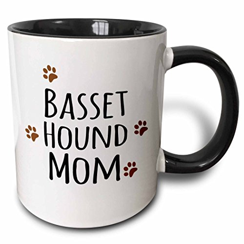 3dRose (mug_154064_4) Basset Hound Dog Mom - Doggie by breed - brown muddy paw prints - doggy lover - pet owner mama love - Two Tone Black Mug, 11oz