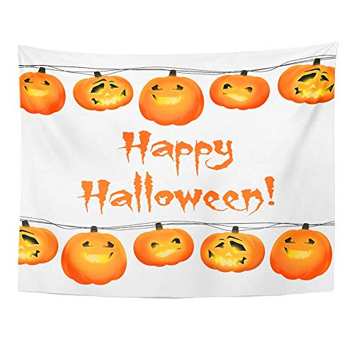 (SPXUBZ Wall Tapestry Garland Orange Halloween Pumpkin Lanterns on Wire and Text Happy Holiday Wall Hanging Decoration Soft Fabric Tapestry Perfect Print for House)