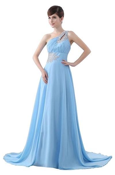 Beauty-Emily para el hombro One de cristal y cristales de diseño de larga de chifón de diseño de vestido de Fiesta de fiesta: Amazon.es: Ropa y accesorios