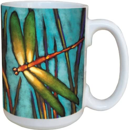Beautiful Dragonfly Coffee Mug - Large 15-Ounce Ceramic Cup, Full-Size Handle - Dragonflies Theme - Gift for Nature Lovers - Tree-Free Greetings 79018