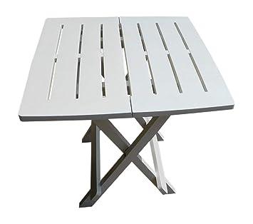 UK-Jardins résine blanche Table de jardin en plastique léger pliante ...
