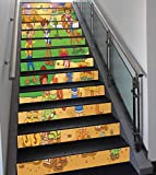 Stair Stickers Wall Stickers,13 PCS Self-Adhesive,Cartoon,Child Cowboy Cute Wild West Cartoon North America Culture Kids Decor,Brown Green,Stair Riser Decal for Living Room, Hall, Kids Room Decor
