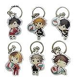 6pcs/lot Karasuno Nekoma Anime Karasuno High School Doomed Battle Metal Keychain for Men Key Chains, White, free size