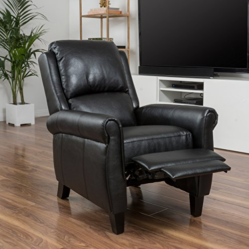 Lloyd black leather recliner club chair home and office for Home office chairs leather