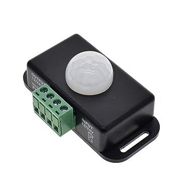 DC 12V 24V 8A Ajuste automático PIR Interruptor del Sensor de Movimiento IR Detector de Infrarrojos Módulo de Interruptor de luz para LED Lámpara de luz de ...