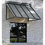 Awntech 4-Feet Houstonian Metal Standing Seam Awning, 24 by 36-Inch, Pewter