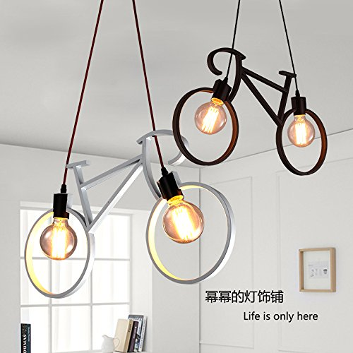INJUICY Bicycle Shade Pendant Lights, Modern E27 Metal Iron Bike Ceiling Lamps Fixtures for Living, Dining & Children's Room, Restaurant, Clothing Store, Cafe, Shop, Hallway