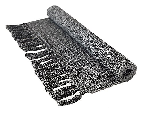 FREELOVE Handwoven Breathable Floor Mat/Area Rug, Table Covers,Sofa Slipcovers,Chair Pads for Kitchen, Living Room, Bedroom, Bathroom, Office,Entrance (2' by 3', Dark Gray)