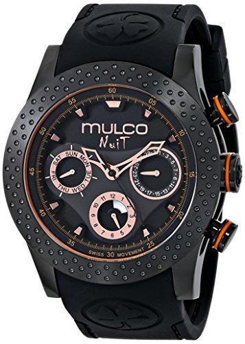 Swiss Quartz Movement Mineral Crystal - MULCO Unisex MW5-1962-260 Analog Display Swiss Quartz Black Watch