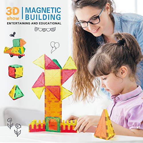VegCow 100pcs Magnetic Tiles Set - 3D Magnet Building Blocks, Educational Construction Toys for Kids – Super Durable with Strong Magnets and Superior Color by VegCow (Image #2)