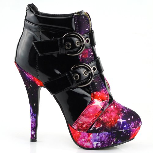 Show Story Black Buckle Night Sky High Heel Stiletto Platform Ankle BootsLF30301BK398USBlack