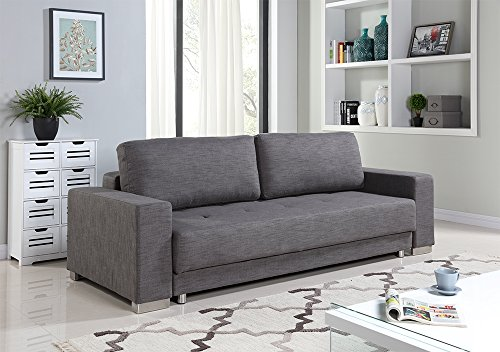 Casabianca Furniture Cloe Collection Fabric Sofa Bed, Gray