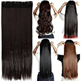 """S-noilite 24""""/26"""" Straight Curly 3/4 Full Head One Piece 5clips Clip in Hair Extensions Long Poplar Style for Xmas Gifts 22colors (26"""" - Straight, dark brown)"""