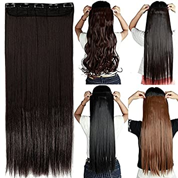 Synthetic Clip-in One Piece S-noilite 26 Long Straight Synthetic Hair Clip In Hair Extension Women Hair Pieces Heat Resistant Red Pink Blonde White Silver Hair Extensions & Wigs