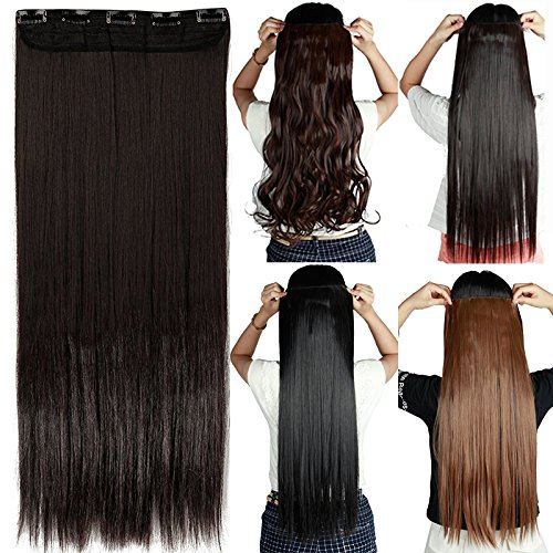 "S-noilite 24""/26"" Straight Curly 3/4 Full Head One Piece 5clips Clip in Hair Extensions Long Poplar Style for Xmas Gifts 22colors (26"" - Straight, dark brown)"