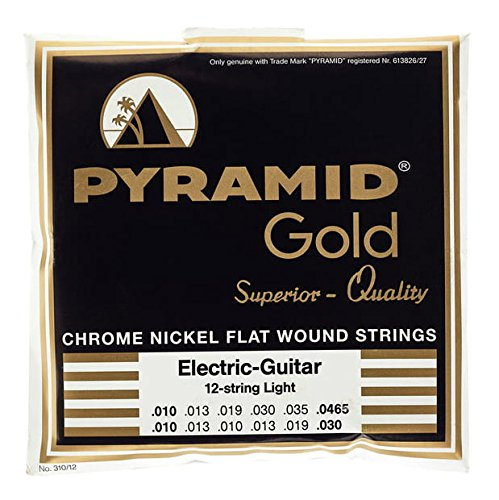 Pyramid Gold Chrome Nickel Flat Wound 12 String Electric Guitar Strings, .010 - .0465 by Pyramid