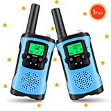 Walkie Talkies for Kids, HALOFUN Wireless Interphone 2 Way Radio 3 Mile Range, Built in Flash Light (1 Pair) (Blue)