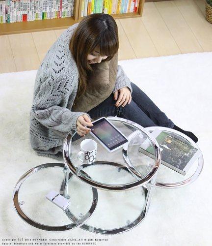 テーブル GT-45 クリア ガラステーブル 透明 直径45 ガラス製 ディスプレイ 棚付き 丸い S2 B00JGOWIDI クリア/クローム クリア/クローム