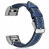 For Fitbit Charge 2 Leather Bands,ESEEKGO Genuine Leather Strap for Fitbit Charge 2 Smart Watch Accessory Replacement Wristband (No Tracker,Blue Band With White Line)