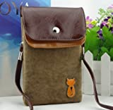 Big Mango Soft Fuzz and PU Leather Purse for Apple Iphone 4 4s Iphone 5 5s 5c Samsung Galaxy S4 S3 Galaxy Note 2 HTC with Shoulder Strap & Magnetic Snap Bottom Closure - Brown