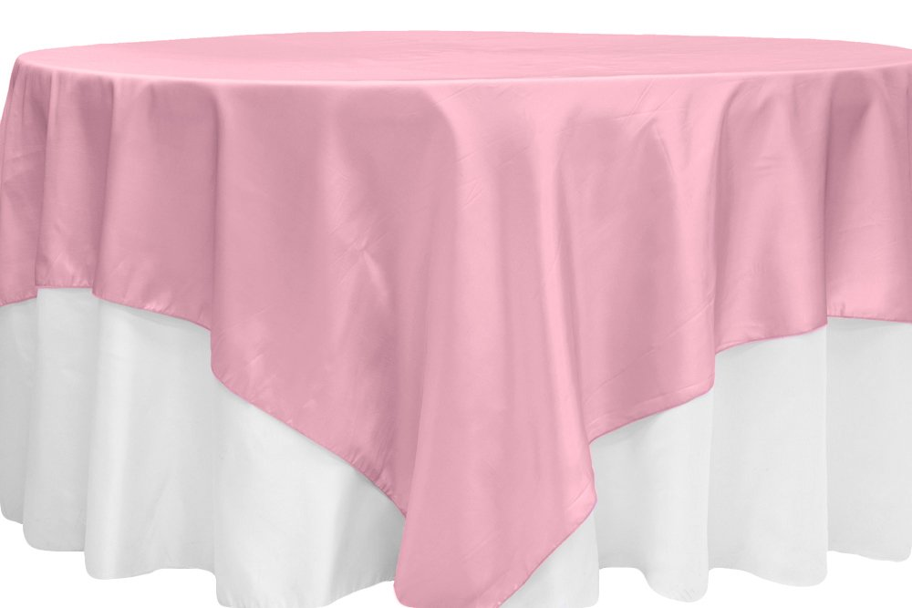 12 Pk, Taffeta Table Overlay Topper Approx. 90''x90'' square seamless Square - Pink
