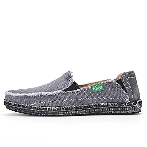 BEFAiR Mens Canvas Shoes Vintage Breathable Slip on Loafers Grey GfPu4Azt3