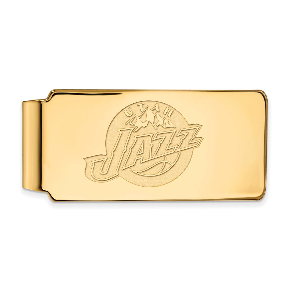NBA Utah Jazz Money Clip in 18k Yellow Gold Flashed Silver