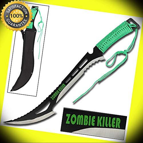 Renegade Apocalypse Zombie Killer Steel Sawback Machete Sword Knife- Green perfect for cosplay outdoor camping