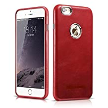 iPhone 6 Plus / 6S Plus Leather Case, ICARER Luxury Real Leather Case For Apple iPhone6 Plus 5.5 Inch Ultra Thin Back Cover (Red)