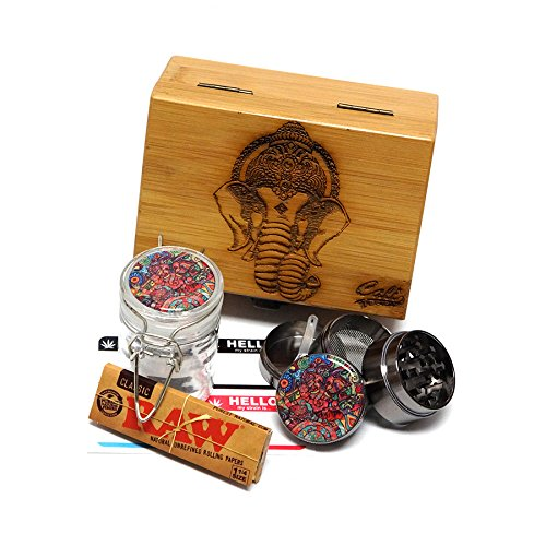 Elephant Laser Etched Sacred Geometry Stash Box, 1.6
