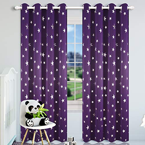 (Kotile Thick Room Darkening Curtains for Girls Bedroom, Foil Print Star Patern Grommet Window Curtain Drapes for Nersery Room, W52 x L84, 2 Panels, Royal Purple)