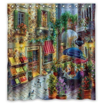 HomeMo Unique And Generic Street In Italian City Shower Curtain Custom Printed Waterproof Fabric Polyester Bath 66w X 72h Inches Bathroom Decor