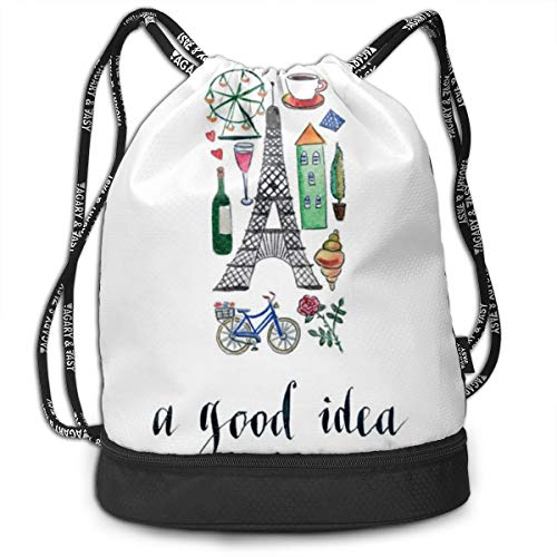 Bulk Drawstring Backpack, Lightweight Gym Sport Bundled Bag Wet Dry Separated Yoga String Cinch Tote Bag Multipurpose Casual Bag For Adult Kids - Paris Is A Good Idea]()