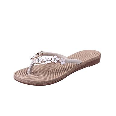 a3e909bf7e1 Women s Flat Flip Flops Bohemia Floral Beaded Thong Sandals Slip On Summer  Beach Sandals (Beige